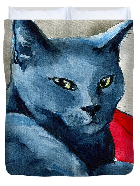 Handsome Russian Blue Cat Duvet Cover