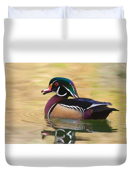 Duvet Cover featuring the photograph Handsome Wood Duck by Ram Vasudev
