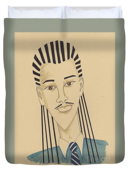 Handsome Young Man -- Stylized Portrait Of African-american Man Duvet Cover