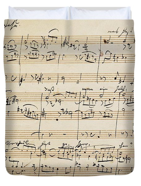 Handwritten Score For Herzliebster Jesu, Chorale Prelude Number 2 Duvet Cover