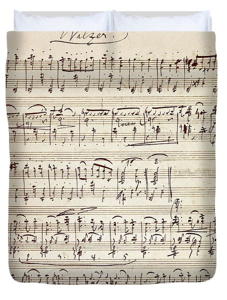 Handwritten Score For Waltz For Piano, Opus 39 Duvet Cover