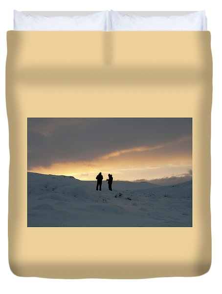 Duvet Cover featuring the photograph Hanging Around Iceland by Dubi Roman