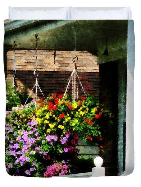 Hanging Baskets Duvet Cover by Susan Savad