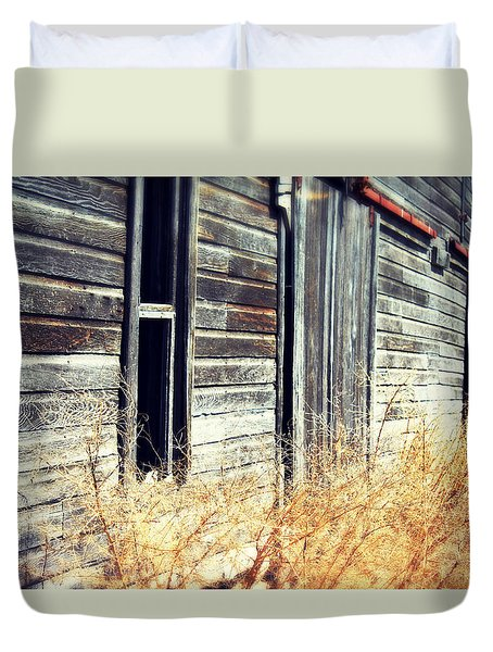 Duvet Cover featuring the photograph Hanging By A Bolt by Julie Hamilton
