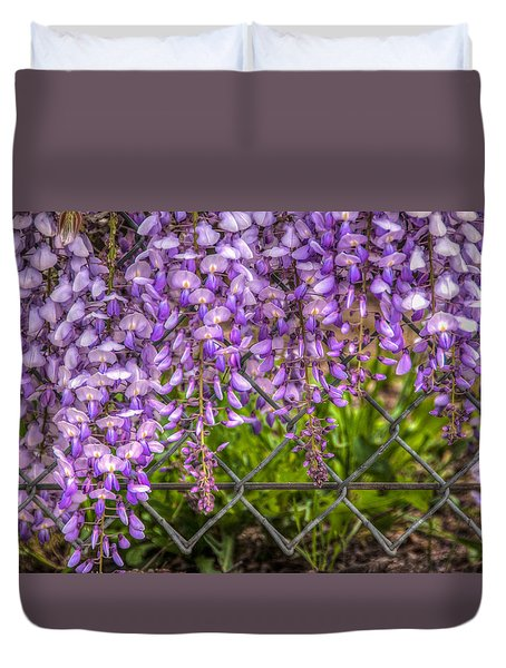 Hanging On The Fence, Wisteria Duvet Cover