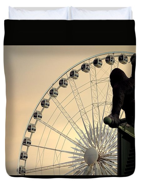 Duvet Cover featuring the photograph Hanging On The Wheel by Valentino Visentini