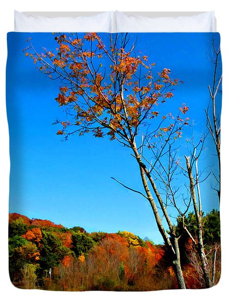 Duvet Cover featuring the photograph Hanging On To Autumn by Joan  Minchak