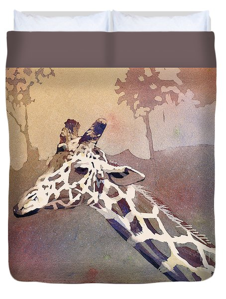 Duvet Cover featuring the painting Hanging Out- Giraffe by Ryan Fox