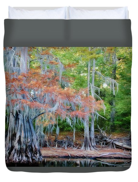 Duvet Cover featuring the photograph Hanging Rust by Lana Trussell