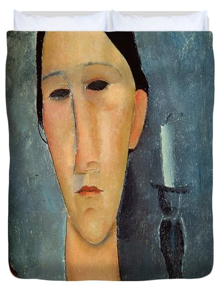 Hanka Zborowska With A Candlestick Duvet Cover by Amedeo Modigliani