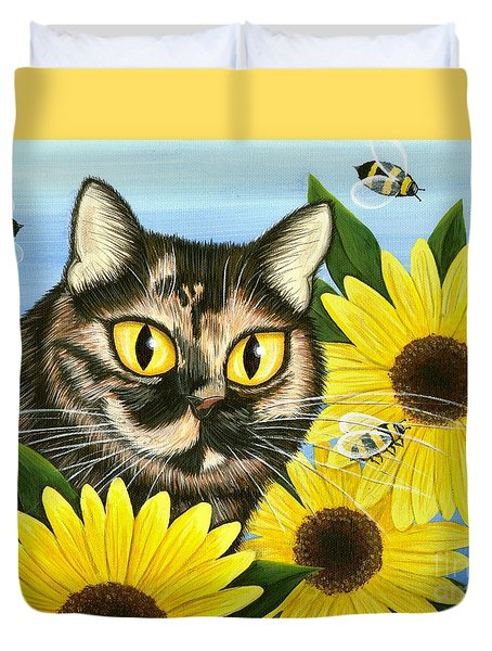 Duvet Cover featuring the painting Hannah Tortoiseshell Cat Sunflowers by Carrie Hawks