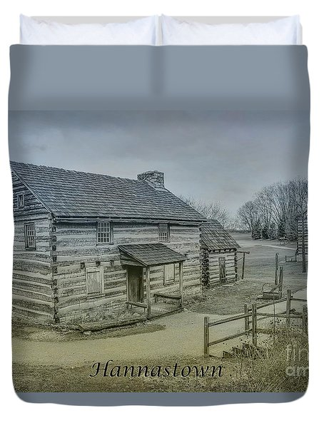 Duvet Cover featuring the digital art Hannastown Log Cabin Two by Randy Steele