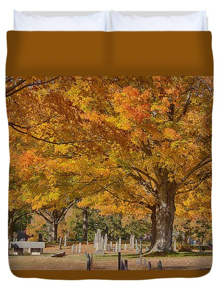 Duvet Cover featuring the photograph Hanover Cemetery Fall Foliage by Jeff Folger