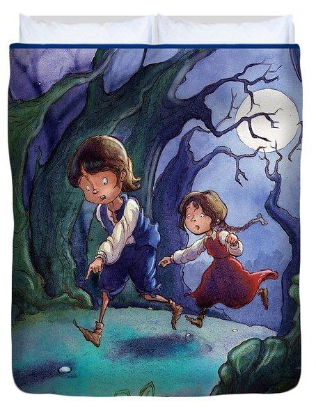 Hansel And Gretel Pebbles Duvet Cover