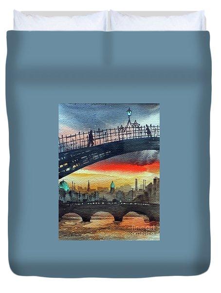 Hapenny Bridge Sunset, Dublin...27apr18 Duvet Cover