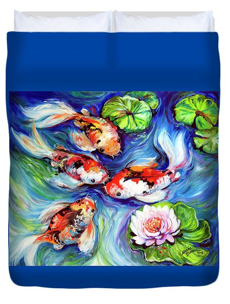Happiness Koi Duvet Cover by Marcia Baldwin