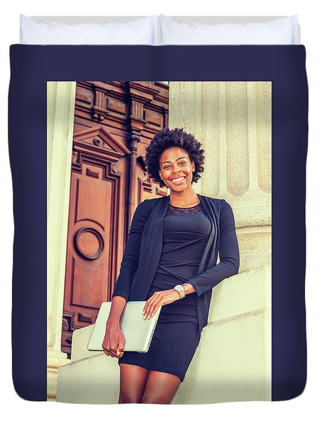 Happy African American College Student Duvet Cover