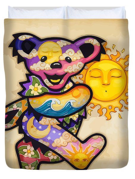 Happy Bear And Sun Duvet Cover