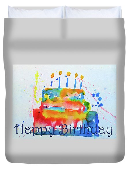Duvet Cover featuring the painting Happy Birthday Blue Cake  by Claire Bull