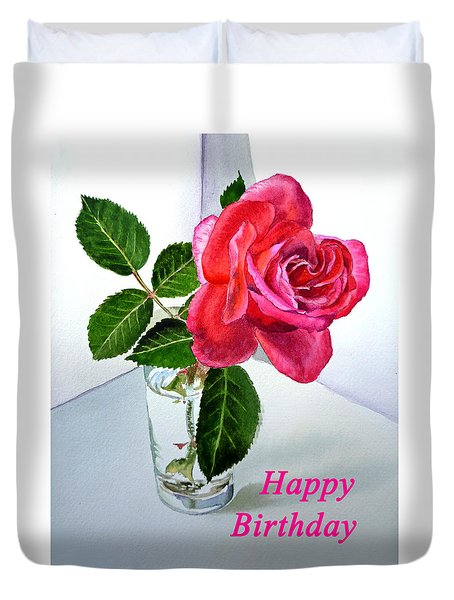 Happy Birthday Card Rose  Duvet Cover