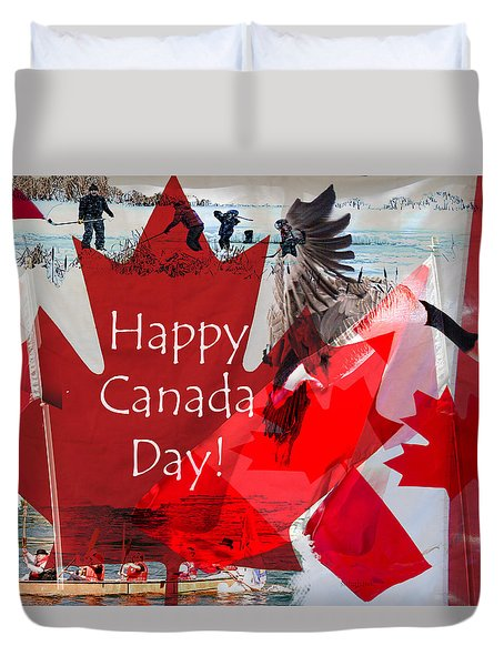 Happy Canada Day Duvet Cover by Kathy Bassett
