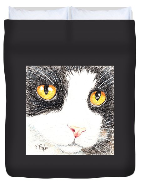 Happy Cat With The Golden Eyes Duvet Cover