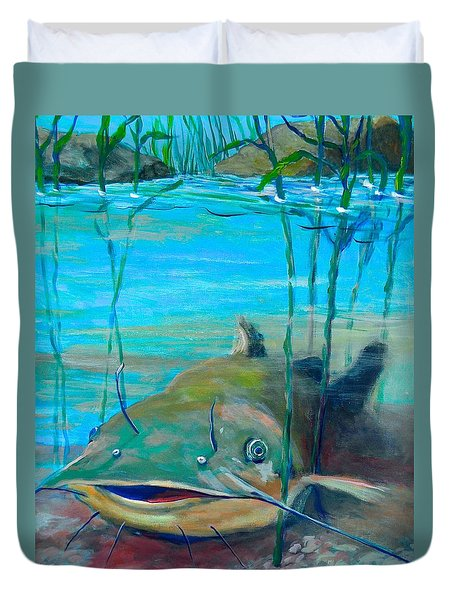 Happy Catfish Duvet Cover by Jeanette Jarmon
