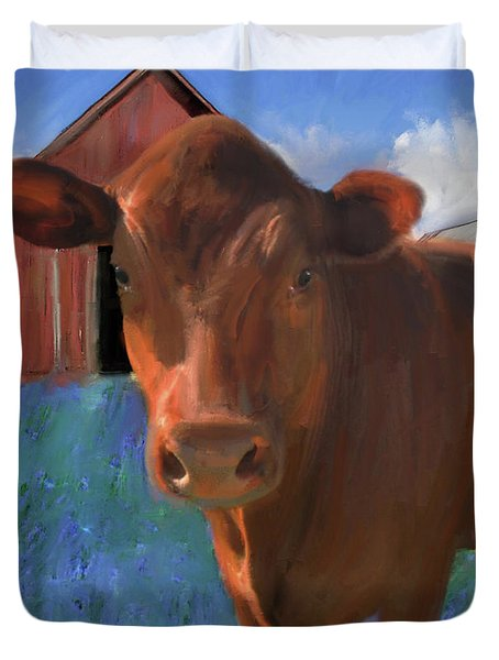 Happy Cow West Marin  Duvet Cover