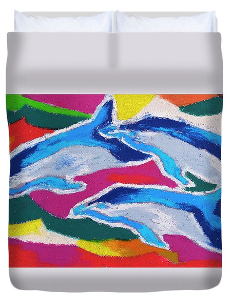 Duvet Cover featuring the painting Happy Dolphin Dance by Stephen Anderson