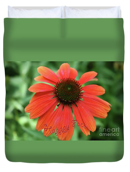 Happy Face Flower Duvet Cover