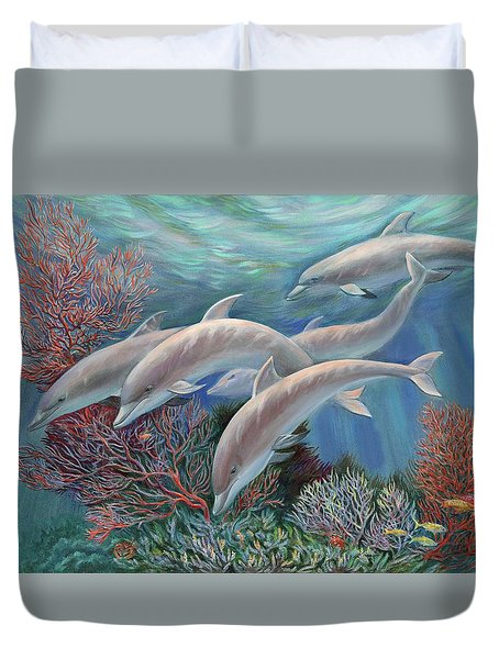Duvet Cover featuring the painting Happy Family - Dolphins Are Awesome by Svitozar Nenyuk