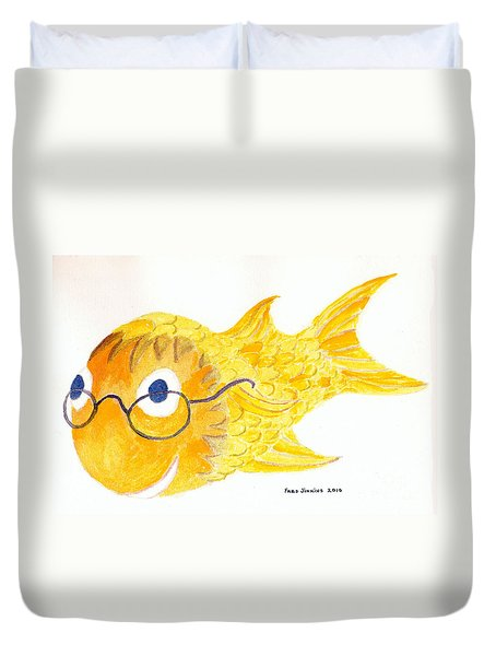 Happy Fish With Glasses Duvet Cover