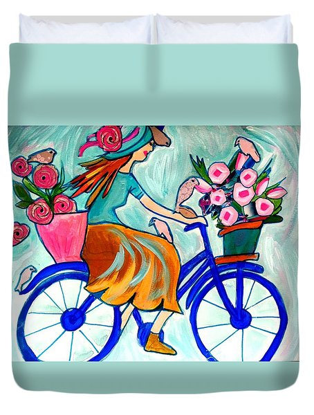 Happy Flower Lady Duvet Cover