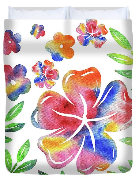 Happy Flowers Watercolor Silhouettes  Duvet Cover