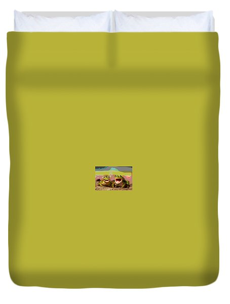 Happy Frog Duvet Cover by Charles Shoup