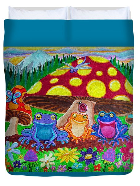 Happy Frog Meadows Duvet Cover by Nick Gustafson