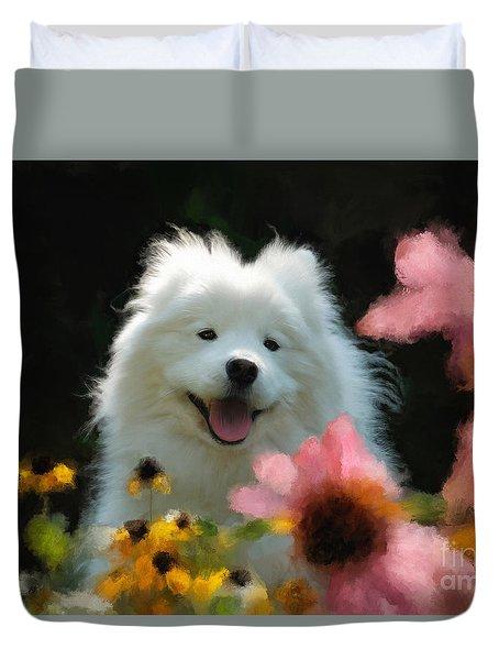 Happy Gal In The Garden Duvet Cover
