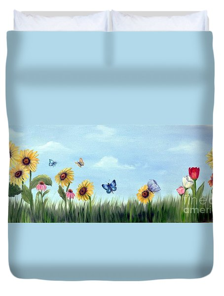 Happy Garden Duvet Cover by Carol Sweetwood