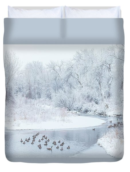Duvet Cover featuring the photograph Happy Geese by Darren White