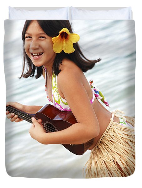 Happy Girl With Ukulele Duvet Cover by Brandon Tabiolo - Printscapes