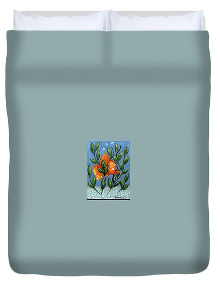 Duvet Cover featuring the painting Happy Goldfish by Sandra Estes