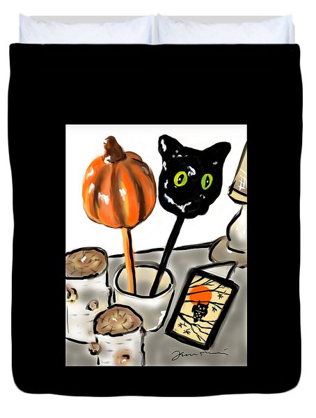 Duvet Cover featuring the painting Happy Halloween by Jean Pacheco Ravinski