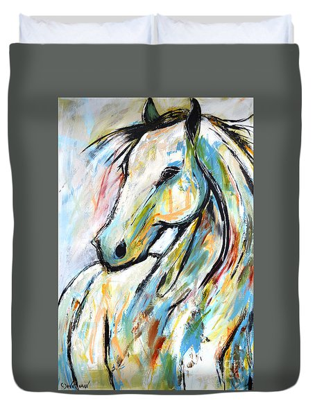 Duvet Cover featuring the painting Happy Heart by Cher Devereaux
