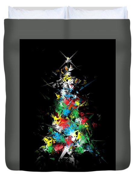 Happy Holidays - Abstract Tree - Vertical Duvet Cover