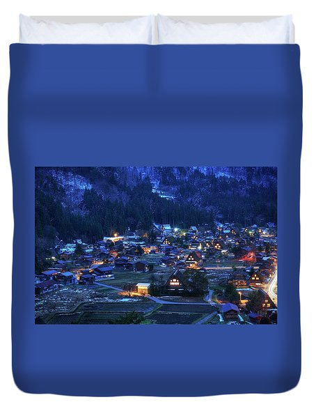 Duvet Cover featuring the photograph Happy Holidays From Japan by Peter Thoeny
