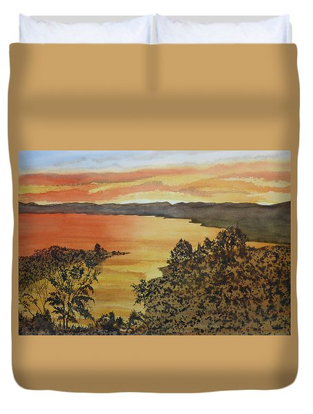 Duvet Cover featuring the painting Happy Hour by Joel Deutsch