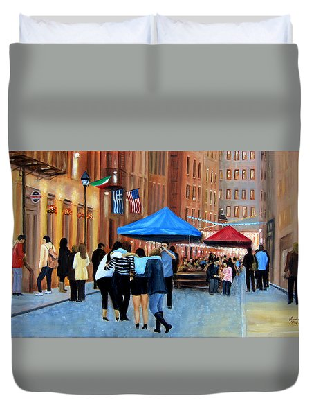 Happy Hour On Stone St. Nyc Duvet Cover