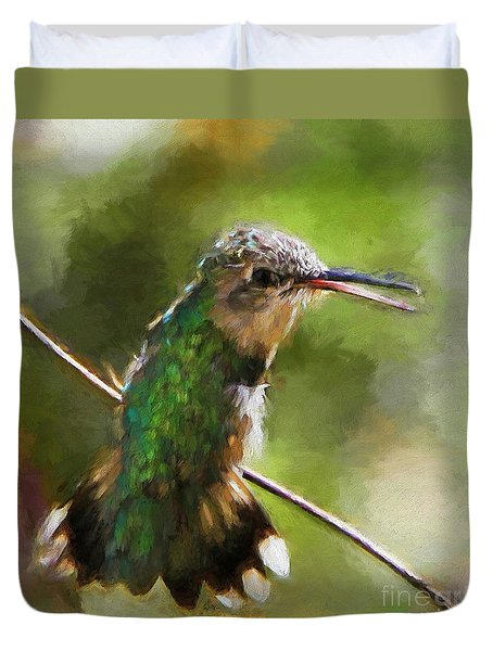 Happy Hummingbird Duvet Cover by Tina  LeCour