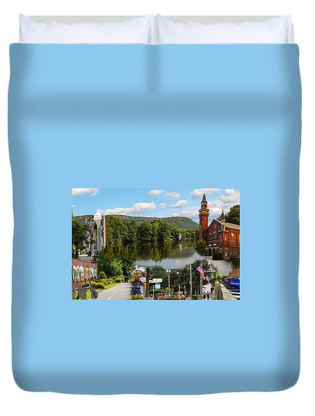 Happy In Easthampton Collage Duvet Cover