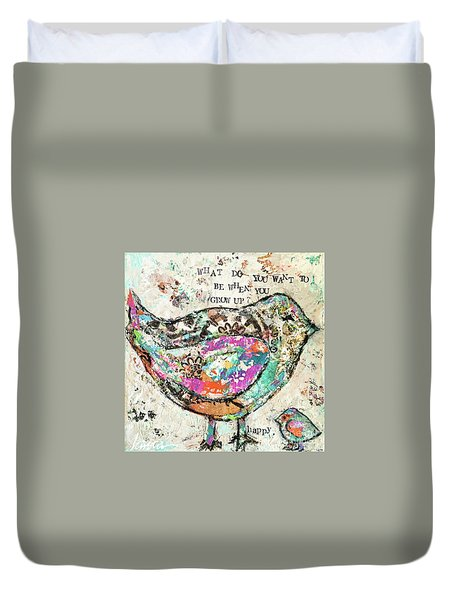 Happy Duvet Cover by Kirsten Reed